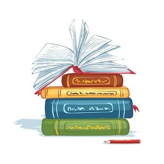 Une pile de livres, un livre ouvert et un crayon. fournitures scolaires.