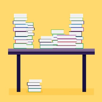 Pile de livres sur une table en bois. illustration vectorielle.
