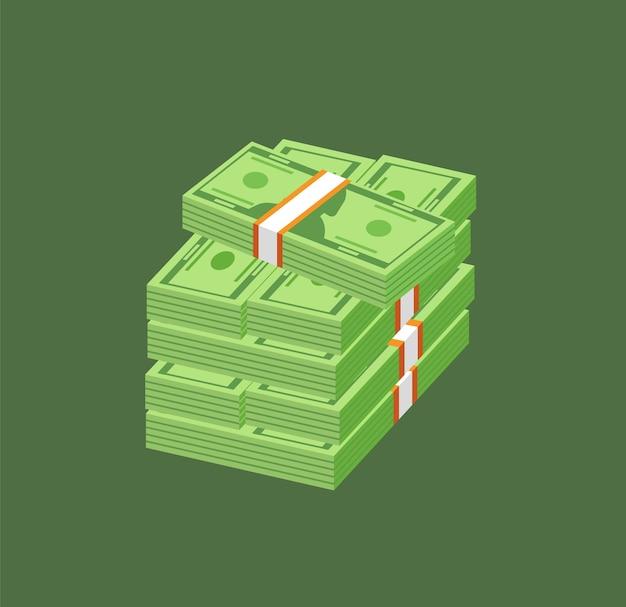 Pile de papier-monnaie ou de monnaie. billets d'un dollar américain ou billets en paquets et faisceaux isolés