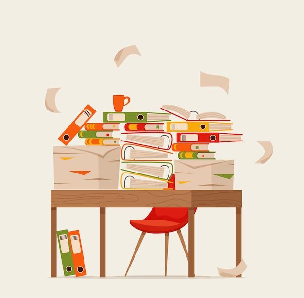 Pile de papiers, documents et dossiers sur le concept de table de bureau. stress de papiers désordonnés non organisés, date limite, illustration de dessin animé plat bureaucratie paperasse dure.