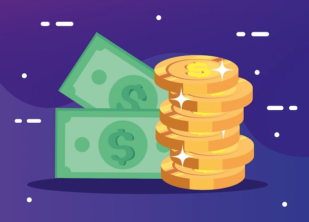 Pile de pièces d'argent avec des factures en espèces