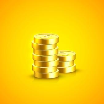 Pile de pièces de monnaie sur le fond orange. illustration vectorielle