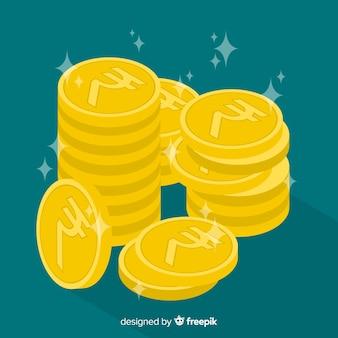 Pile de pièces de monnaie en roupies indiennes