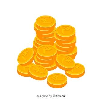 Pile de pièces d'or en roupie indienne