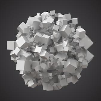 Pile sphérique de cubes aléatoires