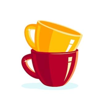 Pile de tasses vides colorées dans un style plat
