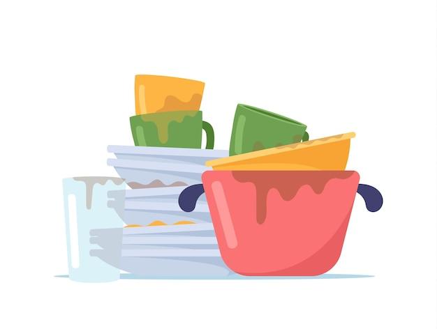 Pile de vaisselle sale, pile d'assiettes en désordre, verre à eau, tasses et casserole à laver