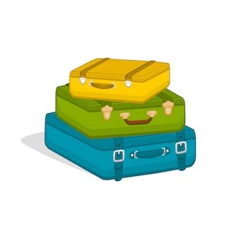 Pile de valises. bagages de voyage bagages illustration