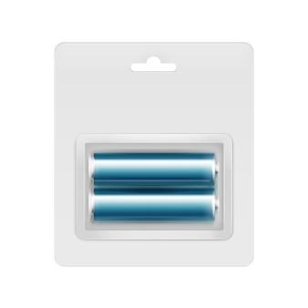 Piles aa alcalines brillantes bleu cyan vecteur sous blister transparent emballées pour la marque sur blanc