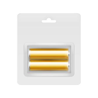 Piles aa alcalines brillantes jaune doré de vecteur sous blister transparent emballé