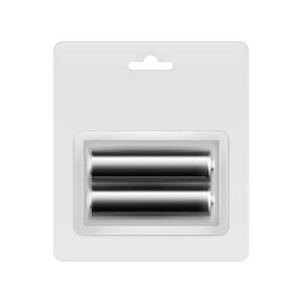 Piles aa alcalines brillantes noires vectorielles sous blister transparent emballées pour la marque sur blanc