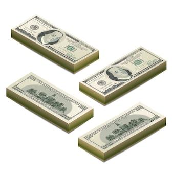 Des piles de billets factices réalistes de cent dollars américains, avant et arrière coupure détaillée en vue isométrique sur blanc