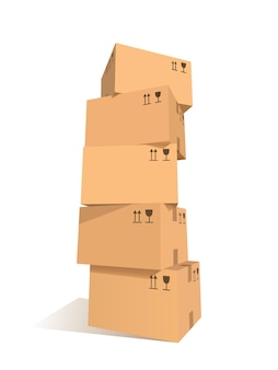 Piles de cartons. ensemble empilé de paquets avec des symboles. élément de conception graphique pour flyer, affiche, service de courrier, publicité de service dans le monde entier. isolé sur fond blanc. illustration vectorielle