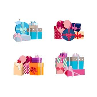 Des piles de coffrets cadeaux et paquets ensemble. boîte d'anniversaire présente et cadeau pour les vacances de noël
