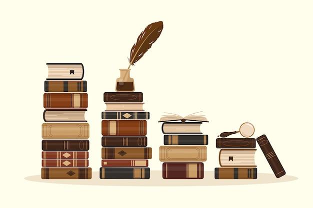 Des piles de livres bruns anciens ou historiques.