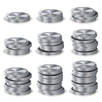 Piles de pièces d'argent