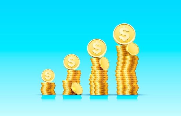 Des piles de pièces d'or croissantes sur une surface bleue