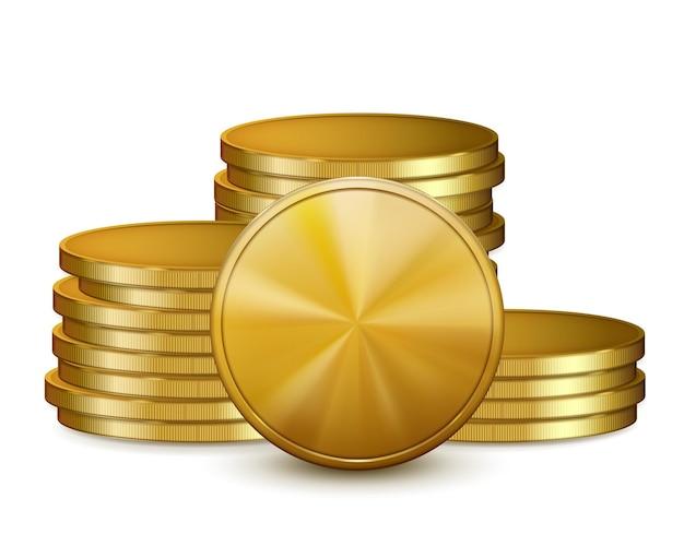 Des piles de pièces d'or, isolés sur fond blanc