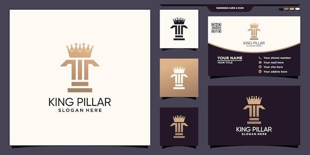 Pilier créatif et logo de la couronne avec un concept unique et un design de carte de visite vecteur premium
