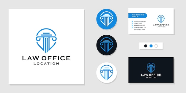 Pilier de droit, logo d'emplacement de cabinet d'avocats et modèle de conception de carte de visite