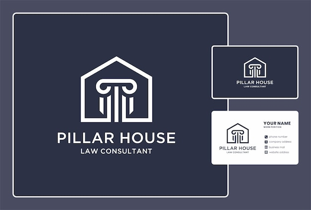 Pilier house of law consultant logo et conception de carte de visite.