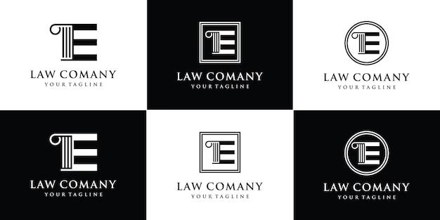 Pilier avec modèle de conception de logo lettre e vecteur premium