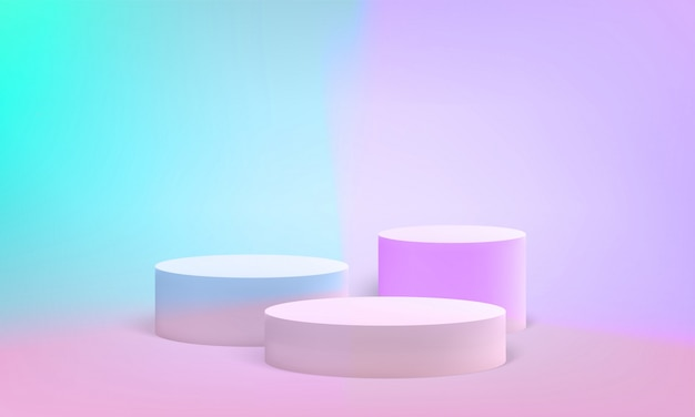 Pilier scène podium stand fond pastel
