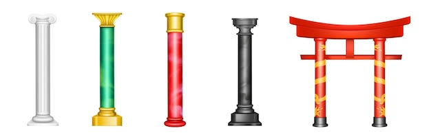 Piliers antiques, colonnes anciennes avec décoration dorée et texture de couleur rouge, verte, blanche ou noire.
