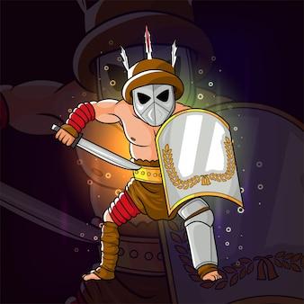 Les pillards attaquent avec la conception de logo esport d'épée d'illustration