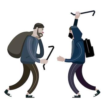 Pilleurs avec pied de biche et sac. voleurs, ferraille, personnages criminels