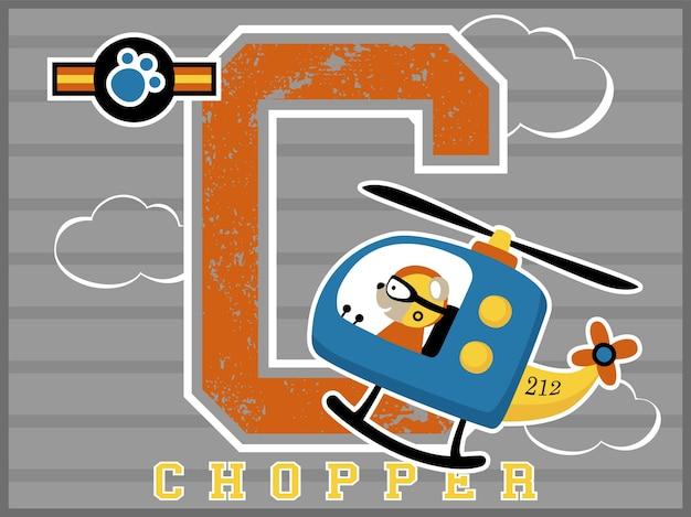 Pilote de bande dessinée drôle hélicoptère avec grand alphabet sur fond rayé