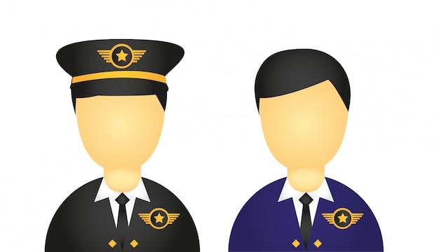 Pilote avec costume et chapeau icônes isolés sur fond blanc vec