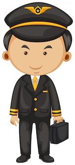 Pilote en costume noir et mallette