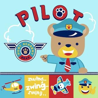 Pilote drôle avec le transport aérien