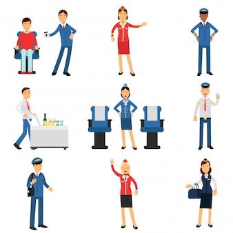 Pilote et hôtesse de l'air au travail pendant le vol, processus de travail de la compagnie aérienne illustrations