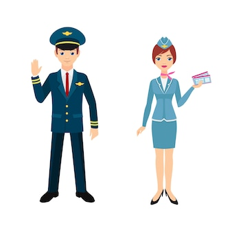 Pilote et hôtesse de l'air. illustration isolé sur fond blanc