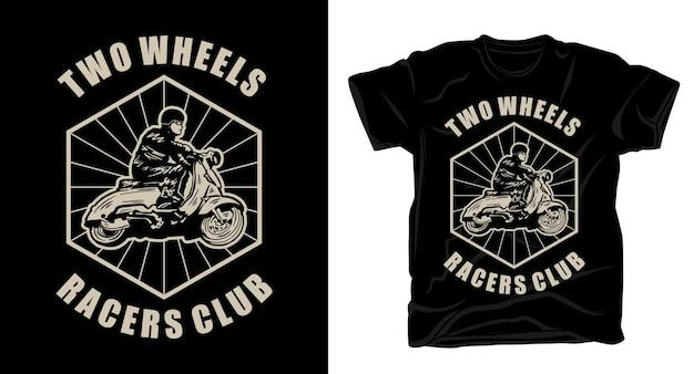 Pilote de moto rétro vintage avec design de t-shirt typographie