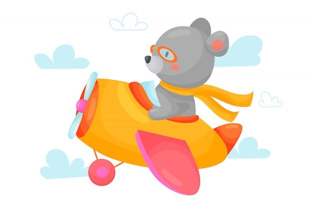 Le pilote d'ours vole en avion à travers les nuages. illustration de dessin animé mignon pour les enfants