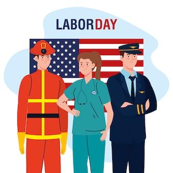 Pilote pompier homme et femme médecin avec la conception de vecteur de drapeau usa