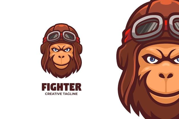 Pilote singe guerrier mascotte logo caractère