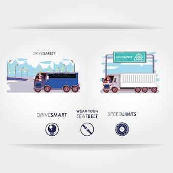 Pilote en toute sécurité campagne définie icônes vector illustration design