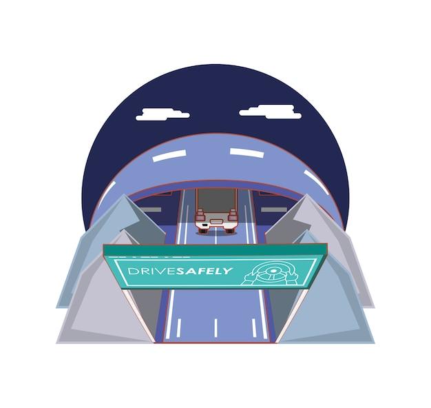 Pilote en toute sécurité campagne étiquette illustration vectorielle conception