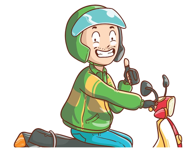 Pilote de vélo de taxi en ligne thumbs up ok illustration style de coloriage de dessin animé dessiné à la main