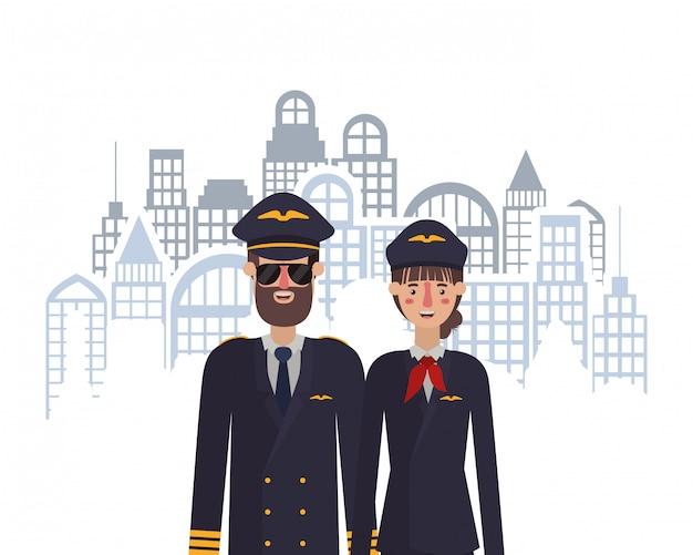 Pilotes femme et homme