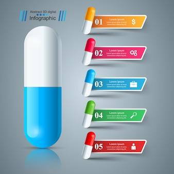 Pilule, comprimé, icône de la médecine, infographie affaires santé.