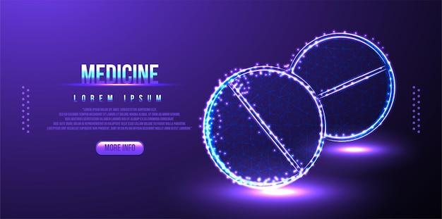 Pilule médecine low poly wireframe