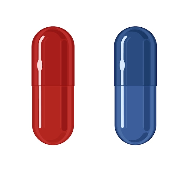 Pilules bleues et rouges, illustration sur fond blanc. concept de choix. métaphore de deux alternatives différentes.