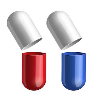 Pilules bleues et rouges