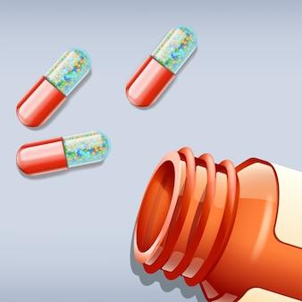 Pilules et bouteille
