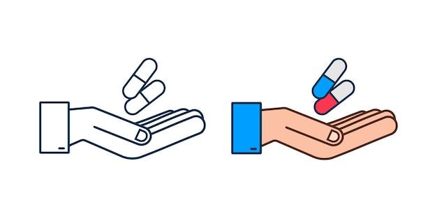 Pilules de capsule dans des mains blister de pilules réalistes avec des capsules sur le fond blanc